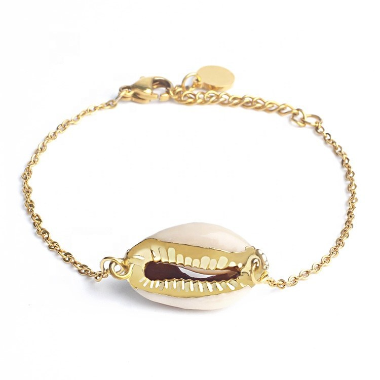Arlo Cowry Shell 14K Gold Plated Anklet, Anklet - KITTY KAT,