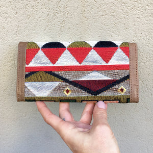 Apollonia Embroidered Aztec Bohemian Tan Leather Wallet, wallets - KITTY KAT,