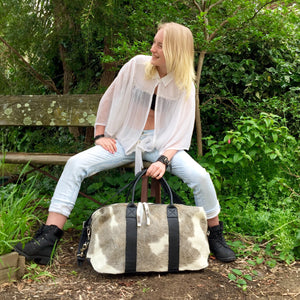 Hunter Cowhide and Leather Duffle Travel Bag -  Grey White Black Multi - KITTY KAT