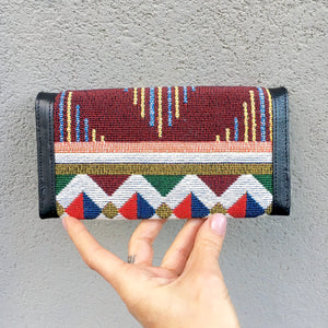 Apollonia Embroidered Moroccan Print Bohemian Black Leather Wallet, wallets - KITTY KAT,