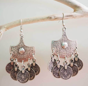 Aisha Boho Coin Drop Earrings, Earrings - KITTY KAT,