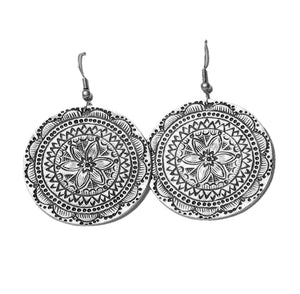 Tulip Flower Carved Disc Boho Earrings - KITTY KAT