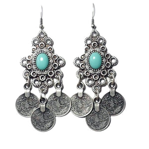Indi Drop Coin Turquoise Earrings, Earrings - KITTY KAT,