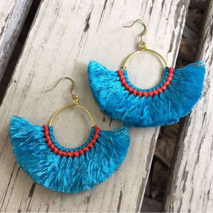 Paros Boho Fringed Cotton and Brass Fan Earrings - Blue, Earrings - KITTY KAT,