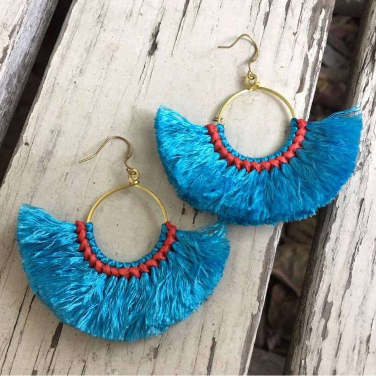 Paros Aegean Blue Fan Earrings