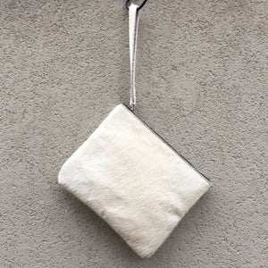 Drew Cowhide Clutch - White - KITTY KAT, Clutch Bag