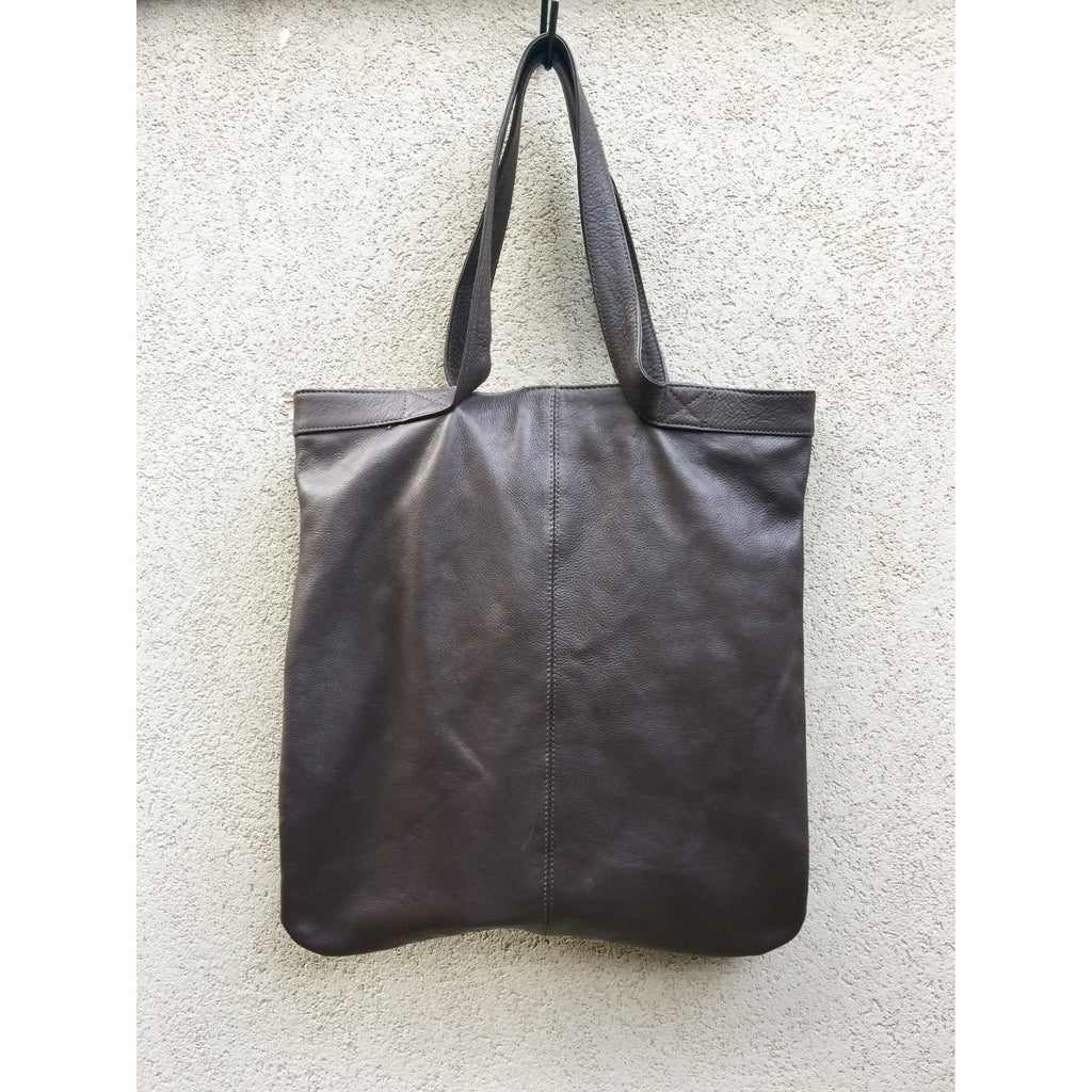 Brianna Cow Leather Shoulder Bag - Chocolate