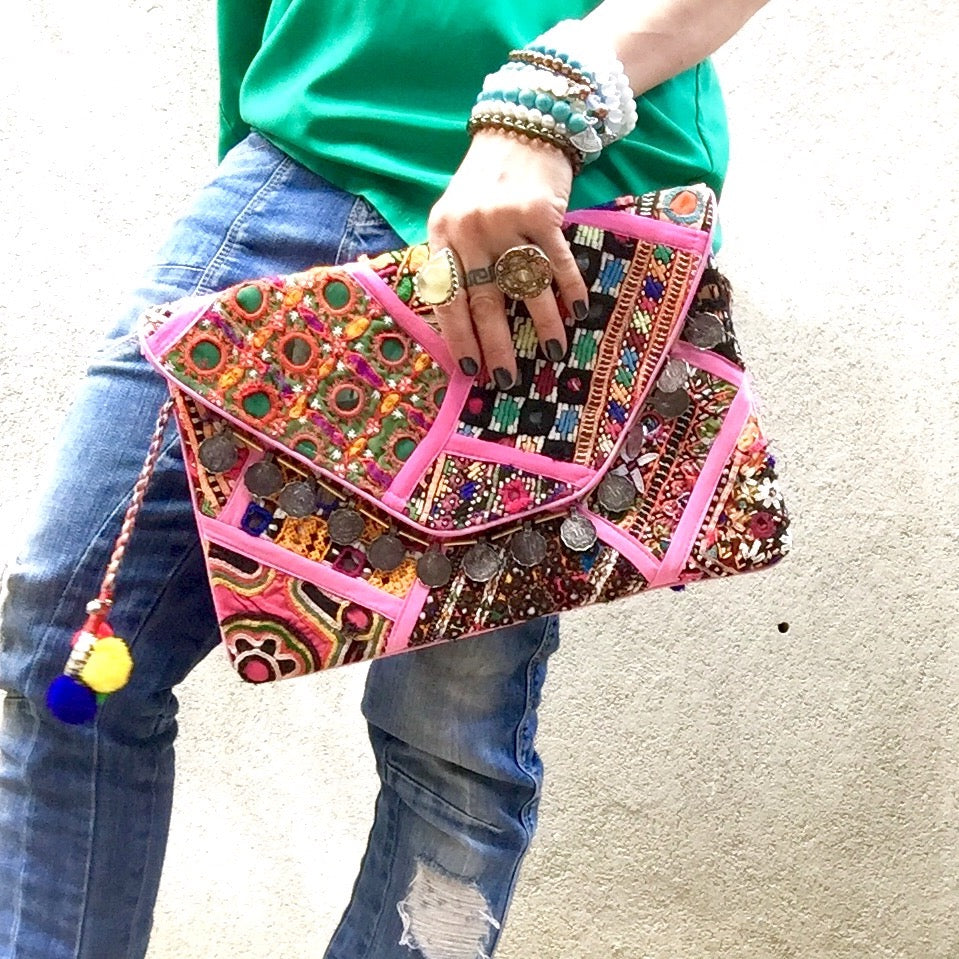 Nova Banjara Clutch Bag - Pink Multi