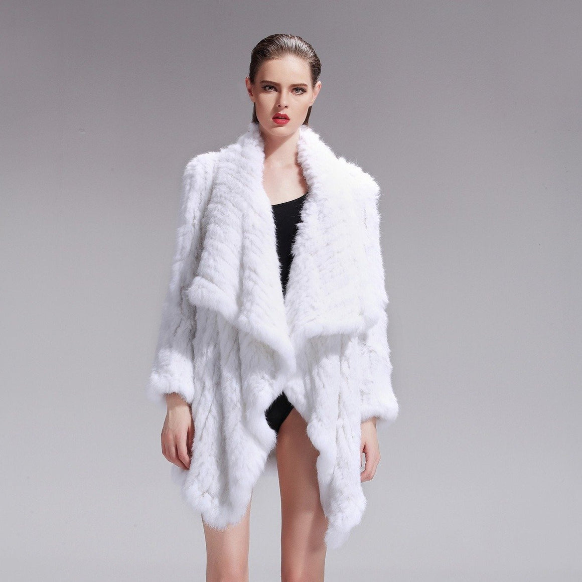 Klara Rabbit Fur Jacket - White, Rabbit Fur Clothing - KITTY KAT,