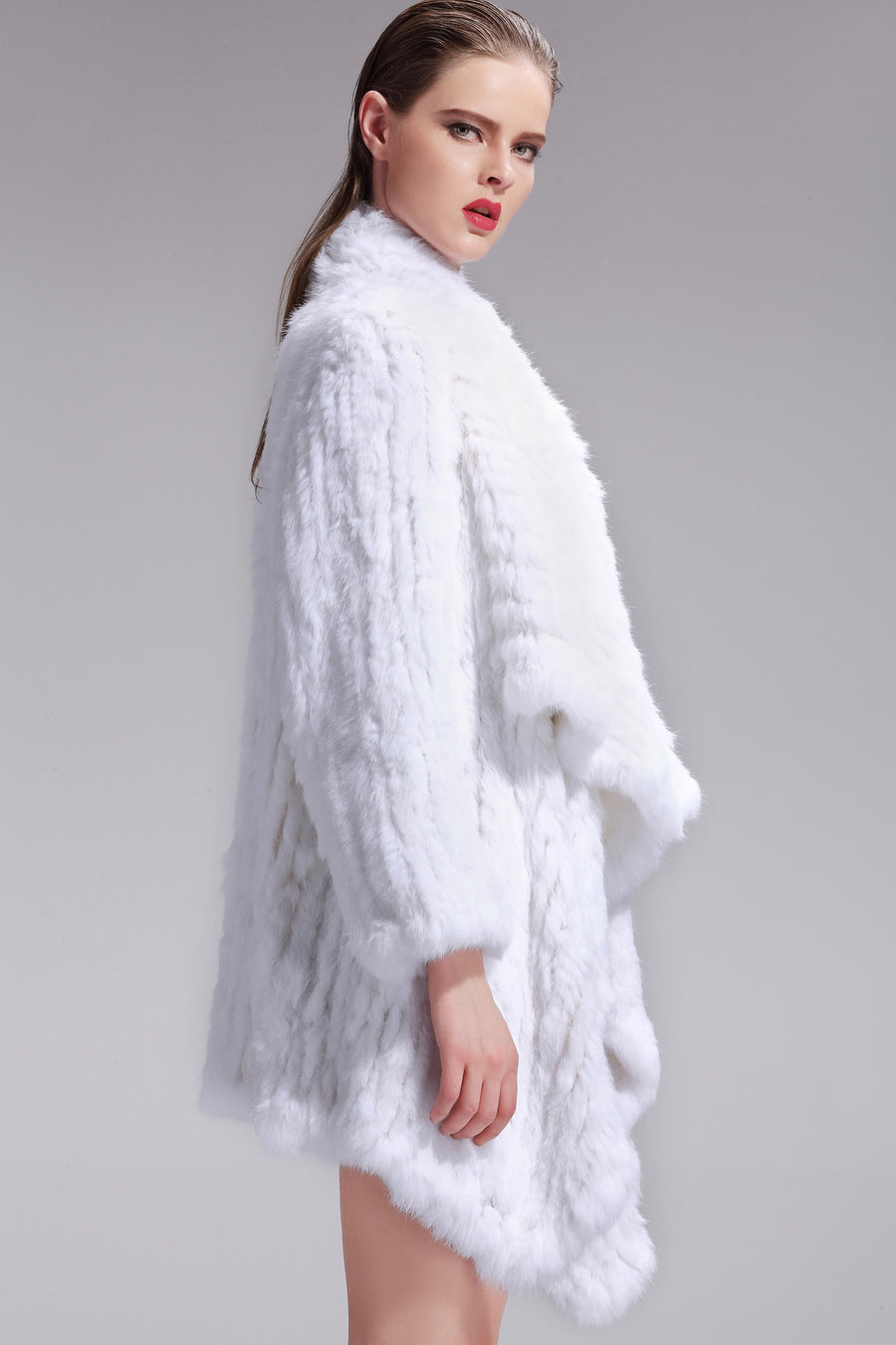 Klara White Rabbit Fur Jacket, Rabbit Fur Clothing - KITTY KAT,