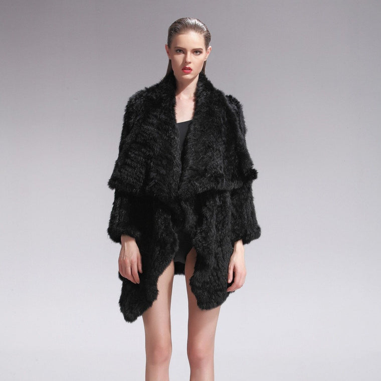Klara Rabbit Fur Jacket - Black