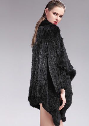 Klara Black Rabbit Fur Jacket, Rabbit Fur Clothing - KITTY KAT,