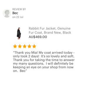 Klara Rabbit Fur Jacket - Black, Rabbit Fur Clothing - KITTY KAT,