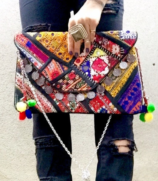 Nova Vintage Gypsy Banjara Clutch Bag - Black Multi