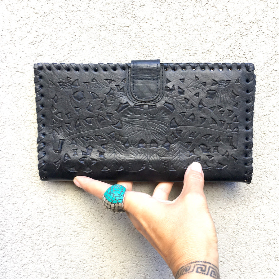 Ida Hand Carved Black Leather Travel Wallet, wallets - KITTY KAT,