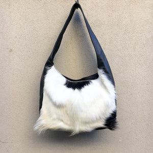 Arizona Leather and Fur Crossbody Slouch Bag, Bag - KITTY KAT,