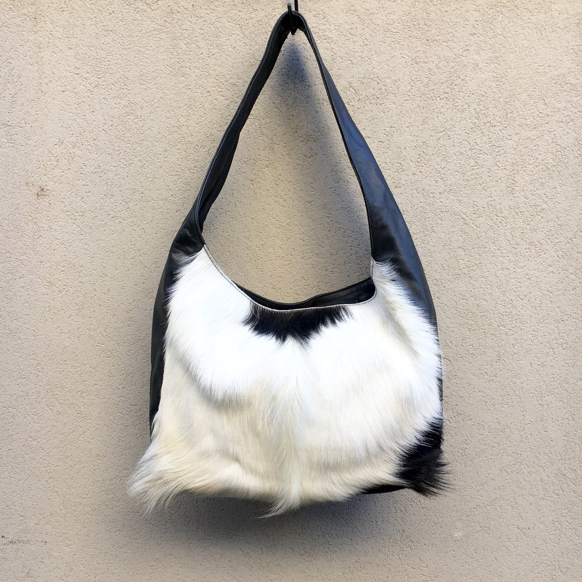 Arizona Leather and Lambs Fur Crossbody Slouch Bag, Bag - KITTY KAT,