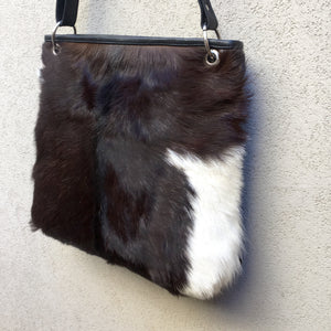 Azahara Leather and Lambs Fur Crossbody Satchel Bag - KITTY KAT