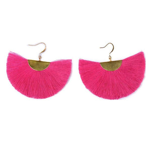 Cassandra Pink Bohemian Half Moon Brass Cotton Earrings, Earrings - KITTY KAT,