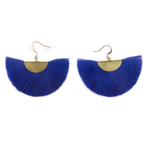 Cassandra Bohemian Half Moon Brass Cotton Earrings, Earrings - KITTY KAT,