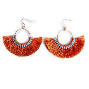 Paros Boho Fringed Cotton and Brass Fan Earrings - KITTY KAT