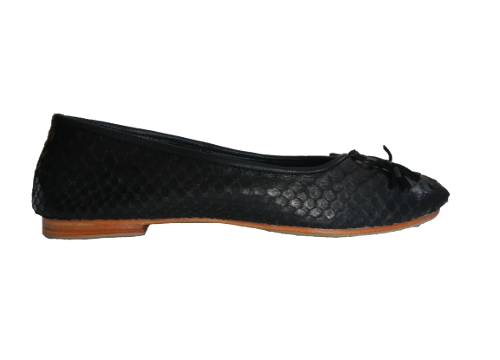 Black Pythonskin and Leather Ballet Shoes - KITTY KAT, Pythonskin Ballet Shoes