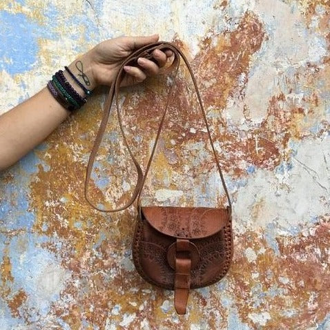 Alicia Tan Leather Hand Tooled Crossbody Bag, Crossbody Bag - KITTY KAT,