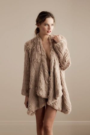 Klara Rabbit Fur Jacket - Camel - KITTY KAT, Rabbit Fur Clothing