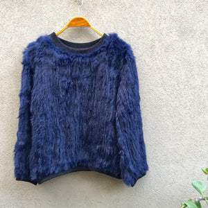 Tonia Rabbit Fur Jumper - Ink Violet Blue, Rabbit Fur Clothing - KITTY KAT,