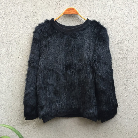 Tonia Rabbit Fur Jumper - Black - KITTY KAT, Rabbit Fur Clothing