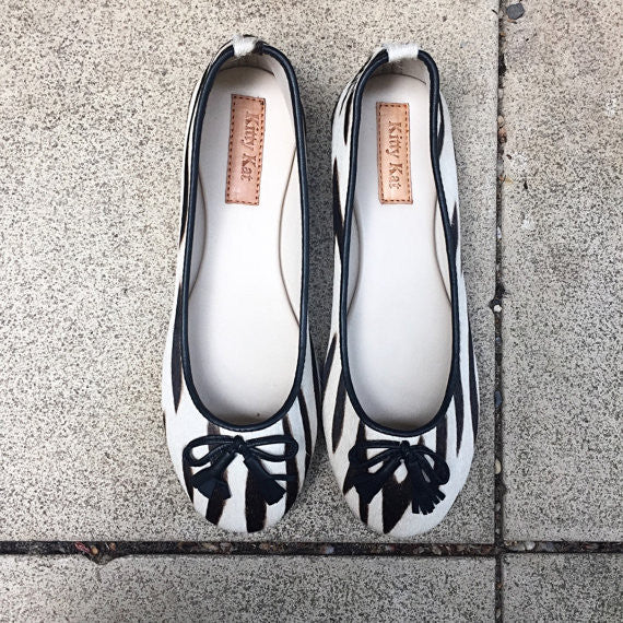 Zebra Ponyskin and Leather Ballet Shoes, Ballet Shoes - KITTY KAT,