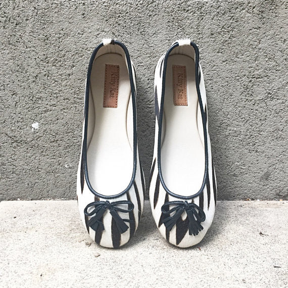 Zebra Ponyskin and Leather Ballet Shoes