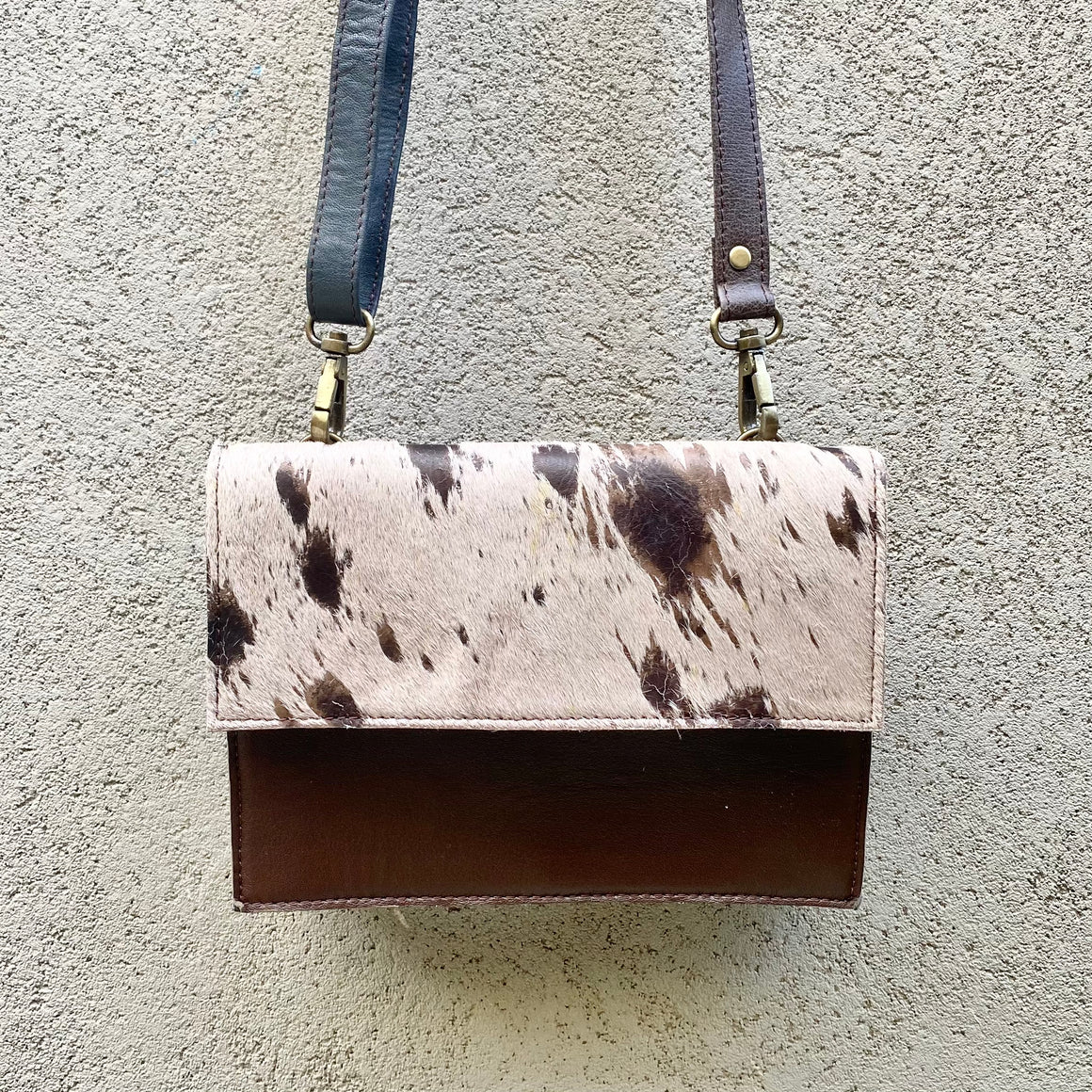 Star Cowhide and Leather Crossbody Clutch Bag - Taupe, Chocolate, Rust, Clutch Bag - KITTY KAT,
