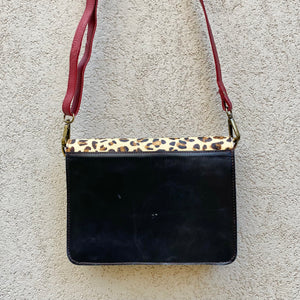 Lucinda Cowhide and Leather Crossbody Clutch Bag - Leopard, Black, Crossbody Bag - KITTY KAT,