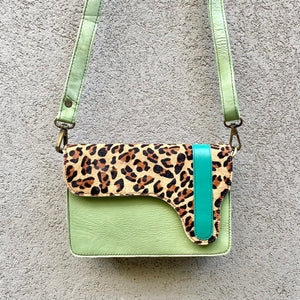 Brandi Cowhide and Leather Crossbody Clutch Bag - Leopard, Mint, Chocolate, Clutch Bag - KITTY KAT,