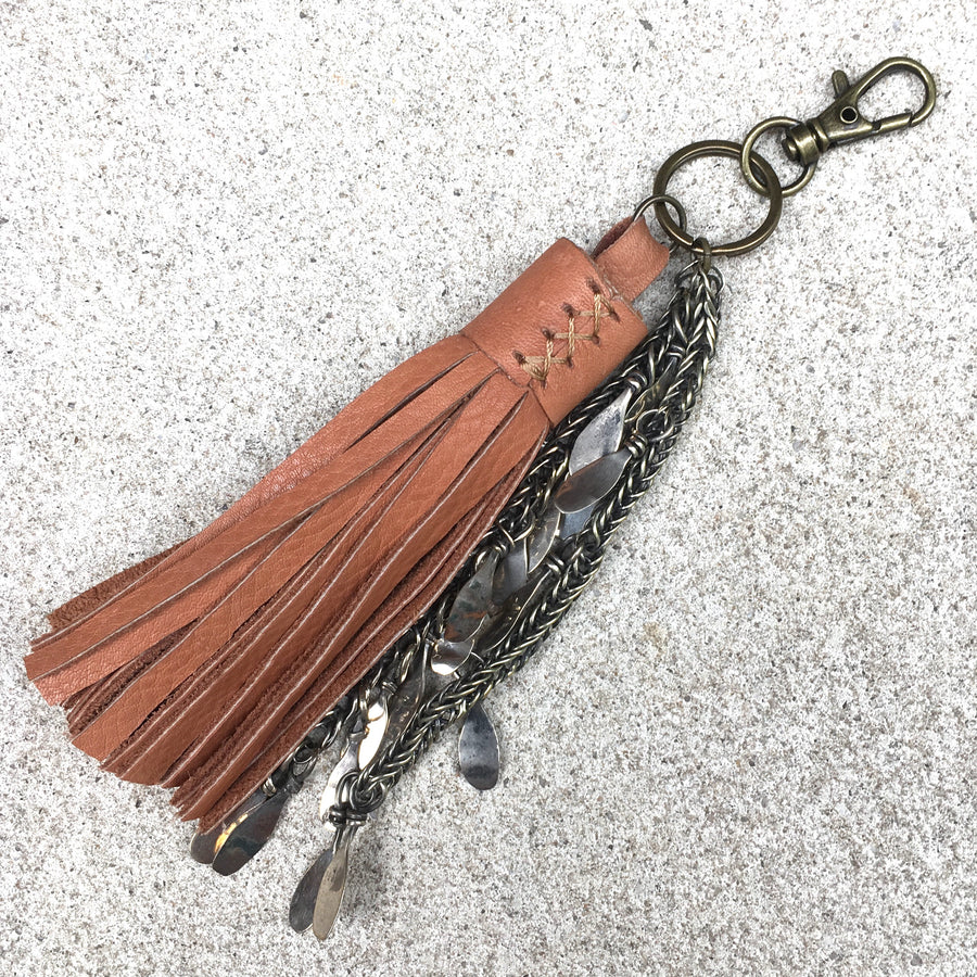 Izzy Tan Fringed Leather Tassel Kuchi Keyrings, Keyring - KITTY KAT,