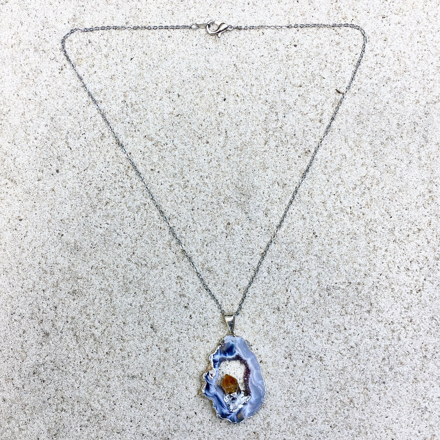 3rd Eye Sliced Citrine Crystal Point Necklace - KITTY KAT