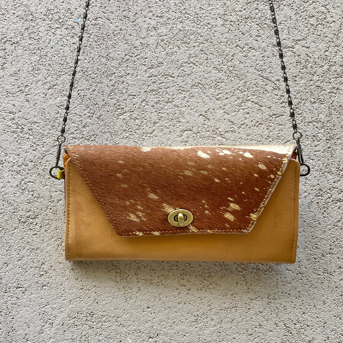 Harley Cowhide and Leather Crossbody Wallet Clutch - Tan, Gold Foil, wallets - KITTY KAT,