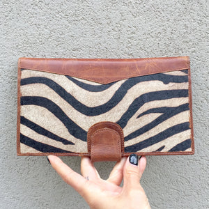 Dahlia Zebra Print Cowhide and Vintage Tan Leather Clutch Wallet