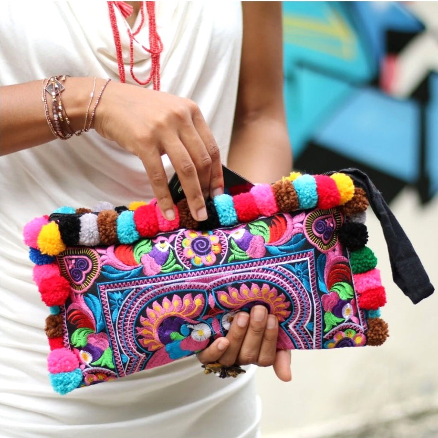 Rhodes Embroidered Banjara Boho Pom Pom Clutch, Clutch Bag - KITTY KAT,