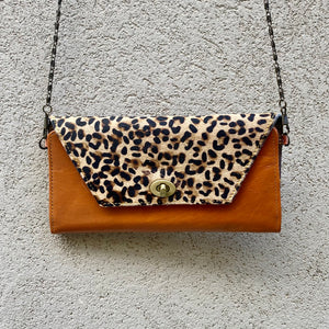 Harley Cowhide and Leather Crossbody Wallet Clutch - Sand Leopard, Dark Tan - KITTY KAT