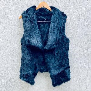 Angelina Rabbit Fur Fitted Cropped Black Vest, Rabbit Fur Clothing - KITTY KAT,