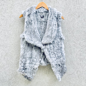 Angelina Rabbit Fur Fitted Cropped Grey Vest, Rabbit Fur Clothing - KITTY KAT,