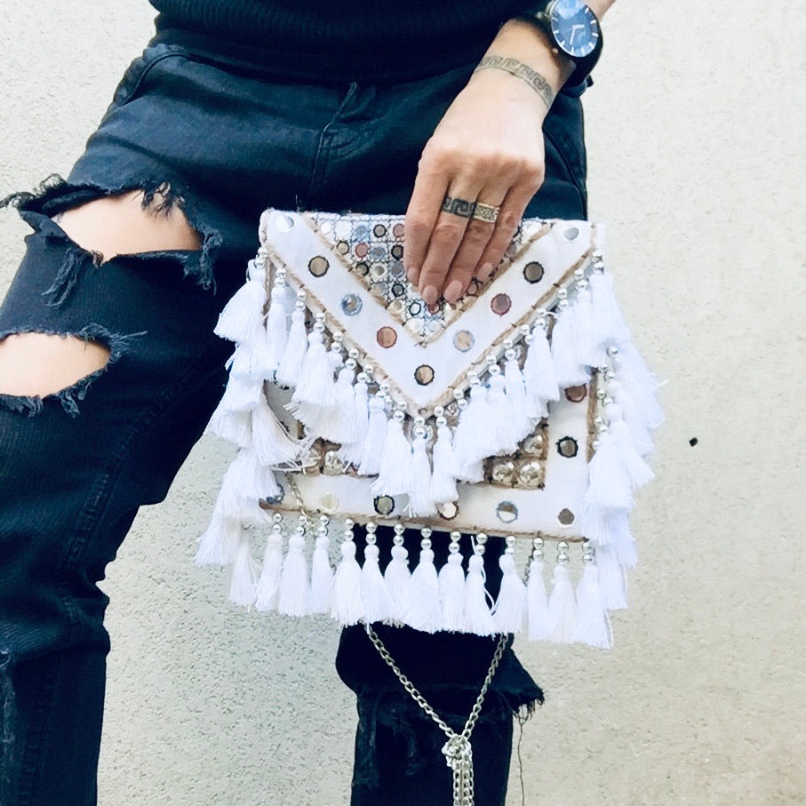 Jayne Bohemian White Fringed Festival Clutch Bag, Clutch Bag - KITTY KAT,