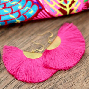 Cassandra Bohemian Half Moon Brass Cotton Earrings - Pink