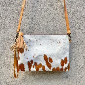 Bella Cowhide Crossbody Clutch Bag - White Tan, Clutch Bag - KITTY KAT,