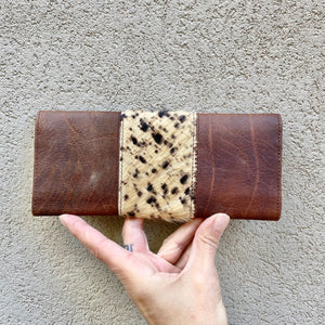Tonya Cowhide and Leather Slimline Wallet - Chocolate and Sand - KITTY KAT