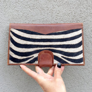 Dahlia Zebra Print Cowhide and Vintage Leather Clutch Wallet