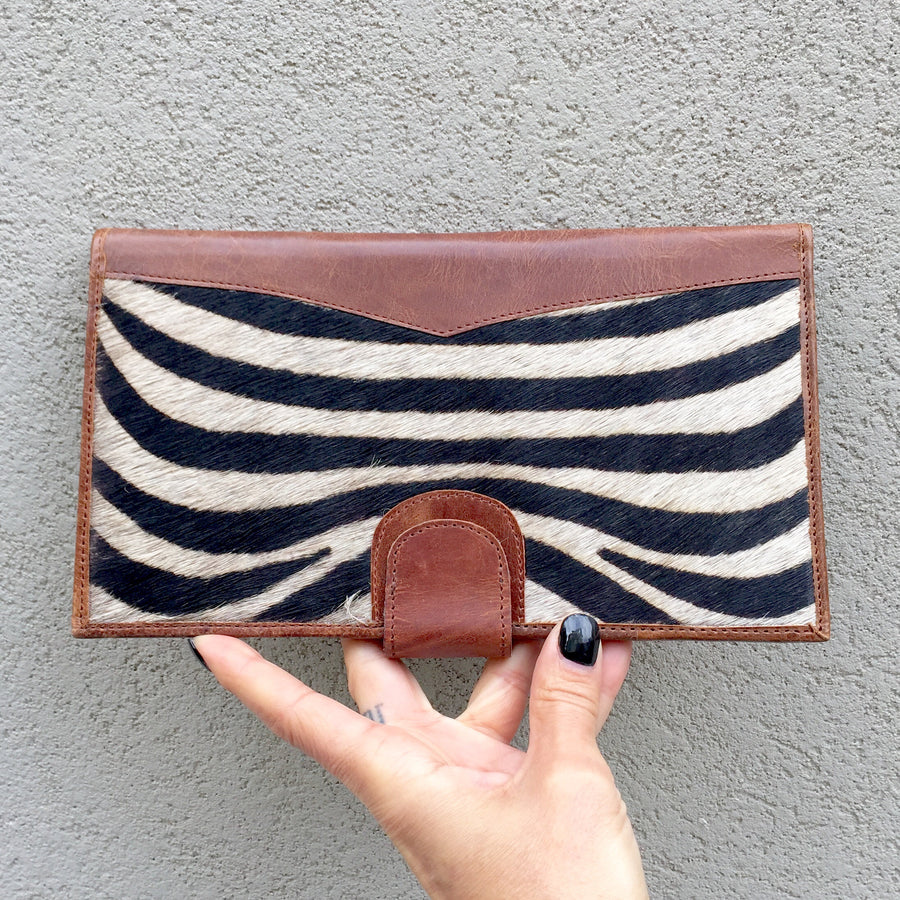 Dahlia Black White Zebra Print Cowhide and Vintage Leather Clutch Travel Wallets, wallets - KITTY KAT,