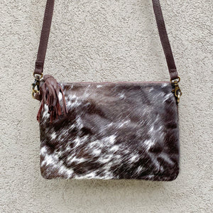 Sahara Reversible Cowhide & Leather Crossbody Clutch Bag - Speckled Chocolate White, Clutch Bag - KITTY KAT,